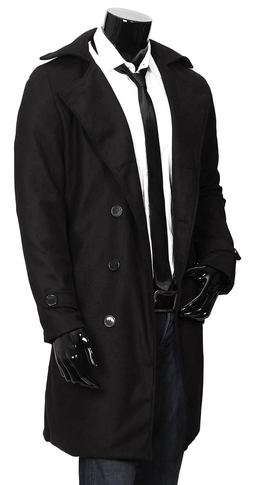Manteau long homme noir,